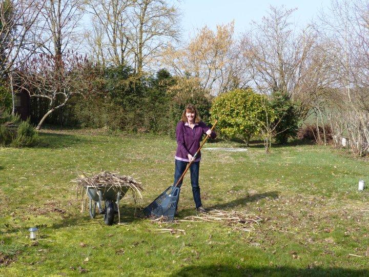 Mrs CW doing a bit of raking